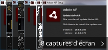 Montage de captures d'écran de Adobe AIR